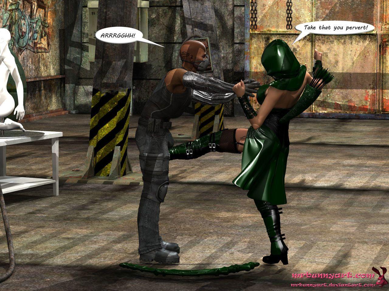 [MrBunnyArt] miss green arrow vs cain (Green Arrow) [English]