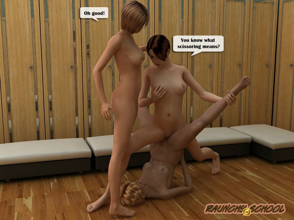 [Raunchy School] Three girls- dumbbell- and wild fisting in the shower - part 2