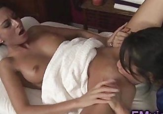 Nikki Daniels Asa Akira awesome lesbian massage