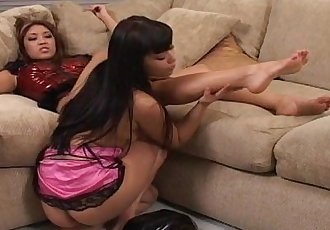 Two Asian girls playing with there feet - 13 min