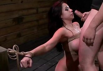 Busty Asian babe throat and pussy fucked in bdsm - 6 min