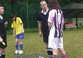 Asian soccer player gets a yellow card and a cock - 57 sec