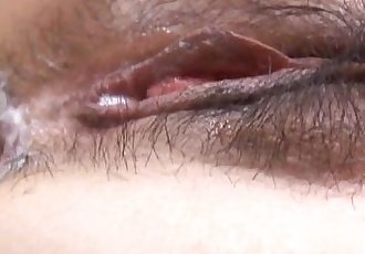 Ran Monbu sucks dick and is nailed in hairy cunt through fishnets - 10 min