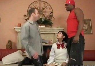 Aimi Shirase in interracial threesome - 10 min