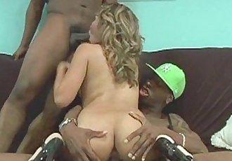 One slutty black chick fucking two fat black cocks - 8 min HD