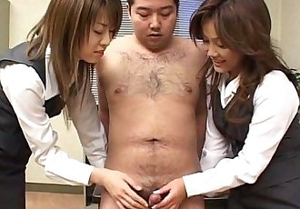 Two naughty Japanese babes munch on a hard dick - 7 min