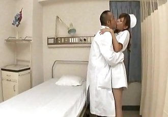 Aya hot nurse takes uniform off to suck and stroke two shlongs - 10 min