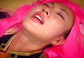 Horny Kao Sugimori receives a massive cum facial - 9 min