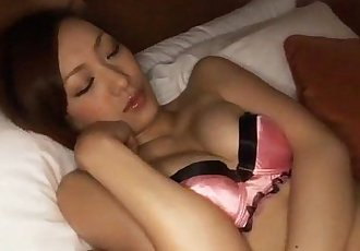 Perfect Japanese Nene strips, gets toyed and eats dick - 5 min