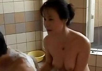 Japanese milf with tight body shower and creampied - 23 min