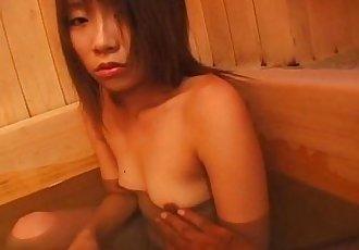 Subtitled defiled Japanese schoolgirl takes a bath - 5 min