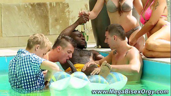 Bi group suck interracial dick