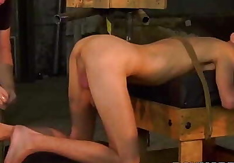 BDSM fetish Jay McDally bent over for bondage and handjob