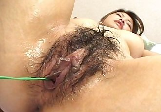 Horny dude plays with a hairy Japanese pussy - 8 min