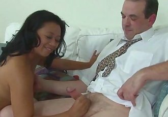 Asian Mature Masseuse Cock Treatment - 5 min HD