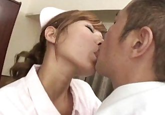 Raunchy Nurse Aoba gives her Doctor the blowjob of his lifetime - 5 min
