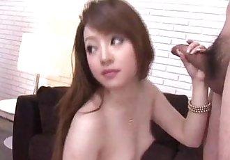 Ria Sakurai craves to swallow jizz after such strong blowjob - 12 min