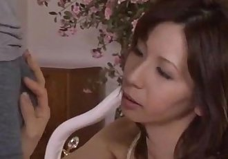 Milf In Lingerie Giving Blowjob For Young Guy Cum To Mouth On The Bed - 8 min