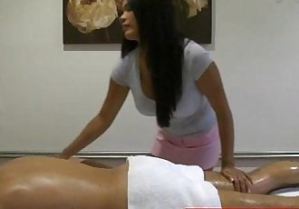 Bigboobed masseuse rides clients cock - 8 min