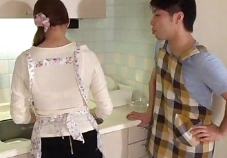 Wife Rina Koda gets busy with three hungry cocks - 12 min