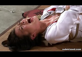 Asian slave is hogtied, electro tortured and dildo punished 3 min HD
