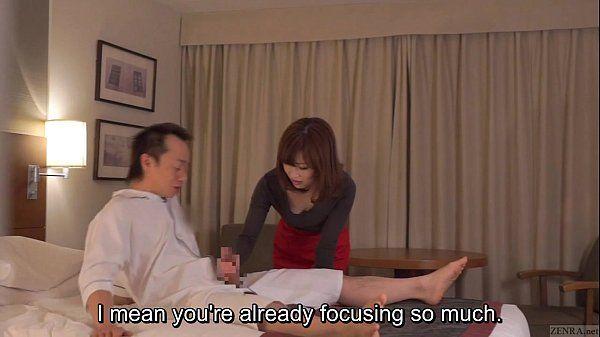 Subtitled CFNM Japanese hotel milf massage leads to handjob HD