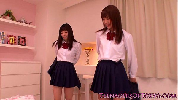 Cute asian schoolgirls lesbo fun at sleepover HD