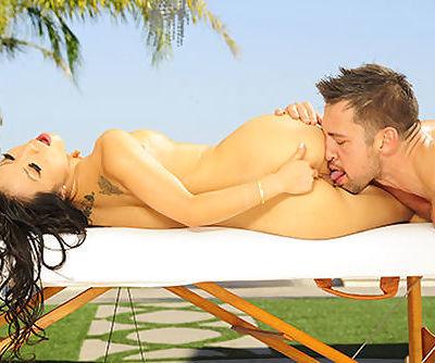Asa Akira gives a full body oil massage