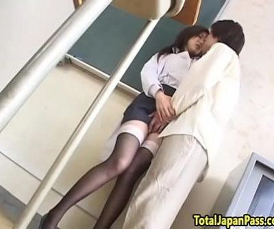 Oriental schoolgirl doggystyled after toying