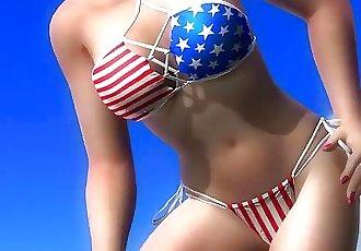 Dead or alive 5 Tina sexy blonde Milf in tight bikini exposes her big ass !
