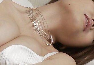 Gorgeous Nao in hot white lingerie masturbating - 8 min
