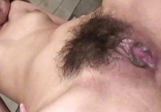 Asain babe double penetrated while sucking cock - 6 min