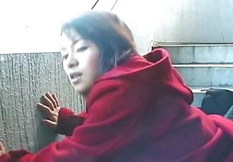Cute Asian giving a hot outdoor blowjob - 8 min