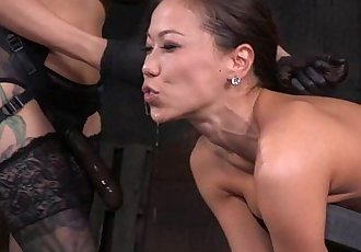Slender Asian slut fucked hard by lezdom strap on - 6 min HD