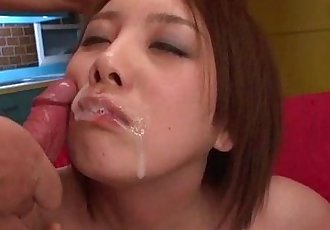 Yurika Momo takes good care of two massive cocks - 12 min
