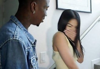 Tiny asian amateur throating big black cock - 7 min