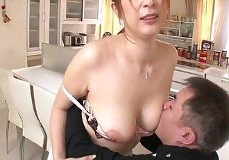 Big titty Araki has a blast in her bosses kitchen giving him a titty job - 5 min
