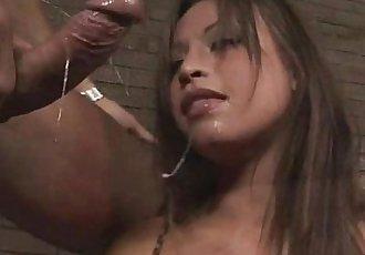 Asian babe deep throats huge cock in stunning blow job scene - 5 min