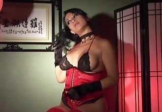 Babe masturbates in stockings gloves and a corset - 6 min