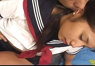 Cute teen in a uniform has her nipples licked - 7 min