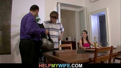 Hot wife cucks hubby with pizza boy - 6 min