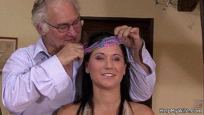 Brunette wife cuckolds her old hubby - 6 min HD