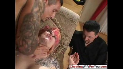 Kinky wife fucked infront of husband - 7 min