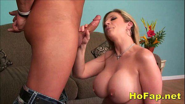 Naughty Big Tits Milf Slurps and Fucks Huge Cock