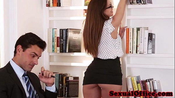 Classy office secretary in glasses fucks bossHD