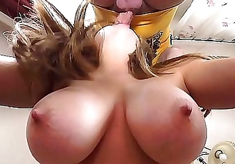 Britney Swallows Big Swinging Mom Tits Slapped around & Mature Pussy Play w/ Cum Drinking from a Glass. Homemade..