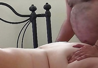 Hairy Daddy fucks pale freckled BBW redhead in the ass. 2 min HD