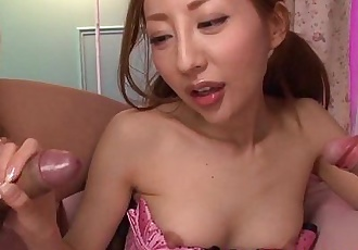 Young asian MILF sucking three cocks - 6 min