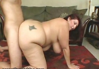 Mature BBW Peaches LaRue Swallows Huge Cock - 2 min