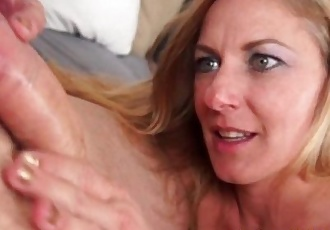 Cougar milf tugs cock and facialized